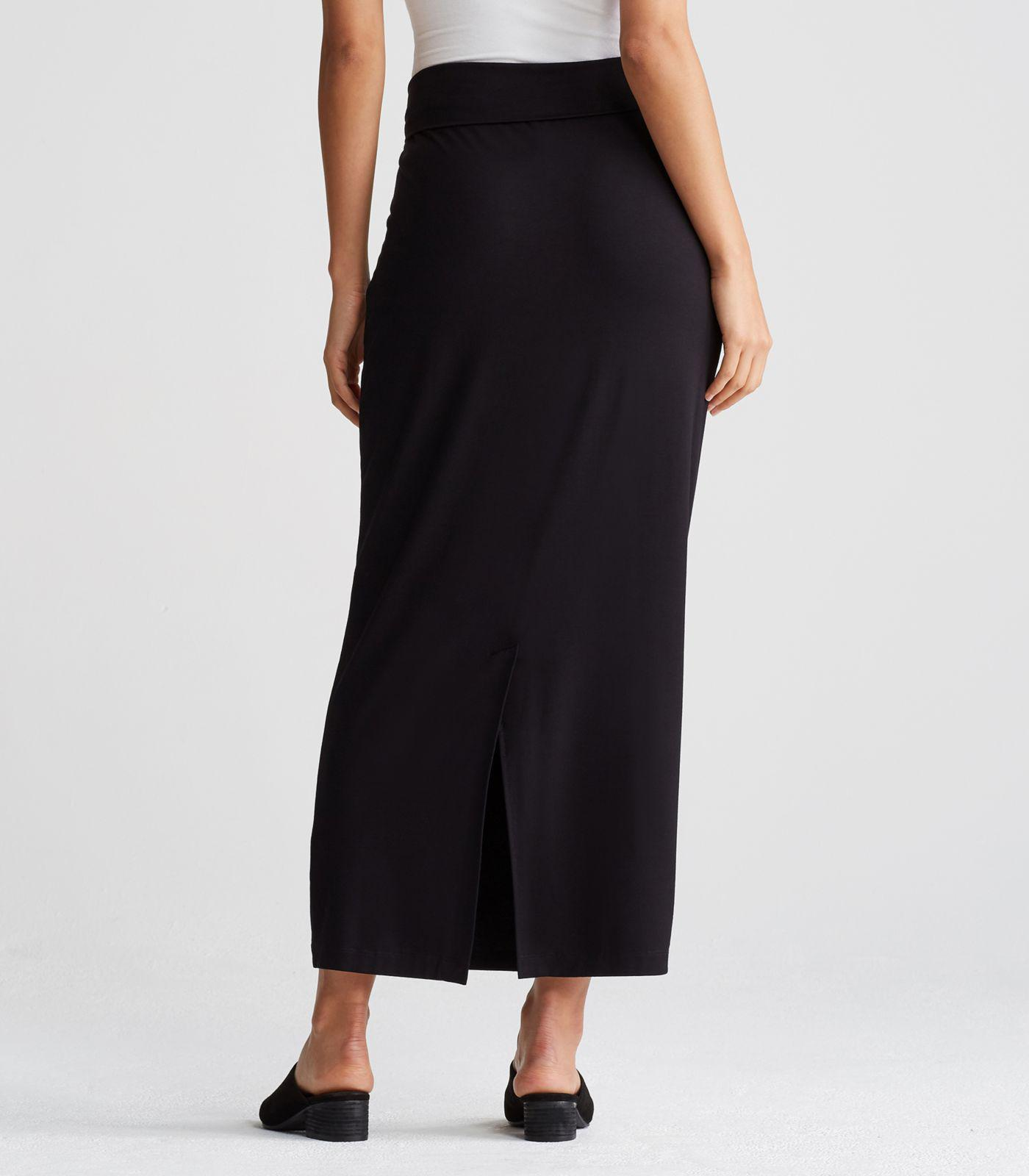 e1766fc4a Eileen Fisher Viscose Jersey Fold-over Maxi Pencil Skirt in Black - Lyst