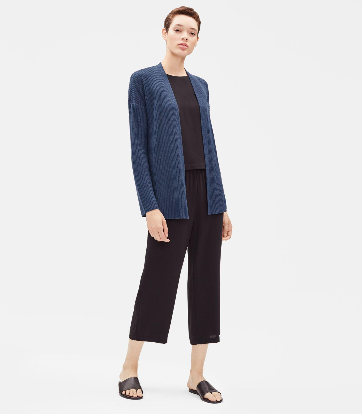 c45f2e8a851 Lyst - Eileen Fisher Organic Linen Ribbed Cardigan in Blue