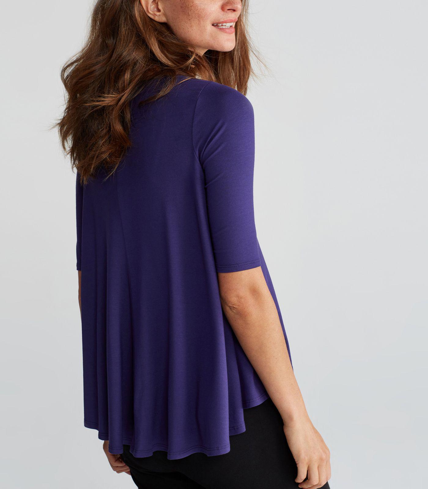 $118 Eileen Fisher Jewel Signature LIGHTWEIGHT VISCOSE JERSEY Elbow Sleeve Tunic
