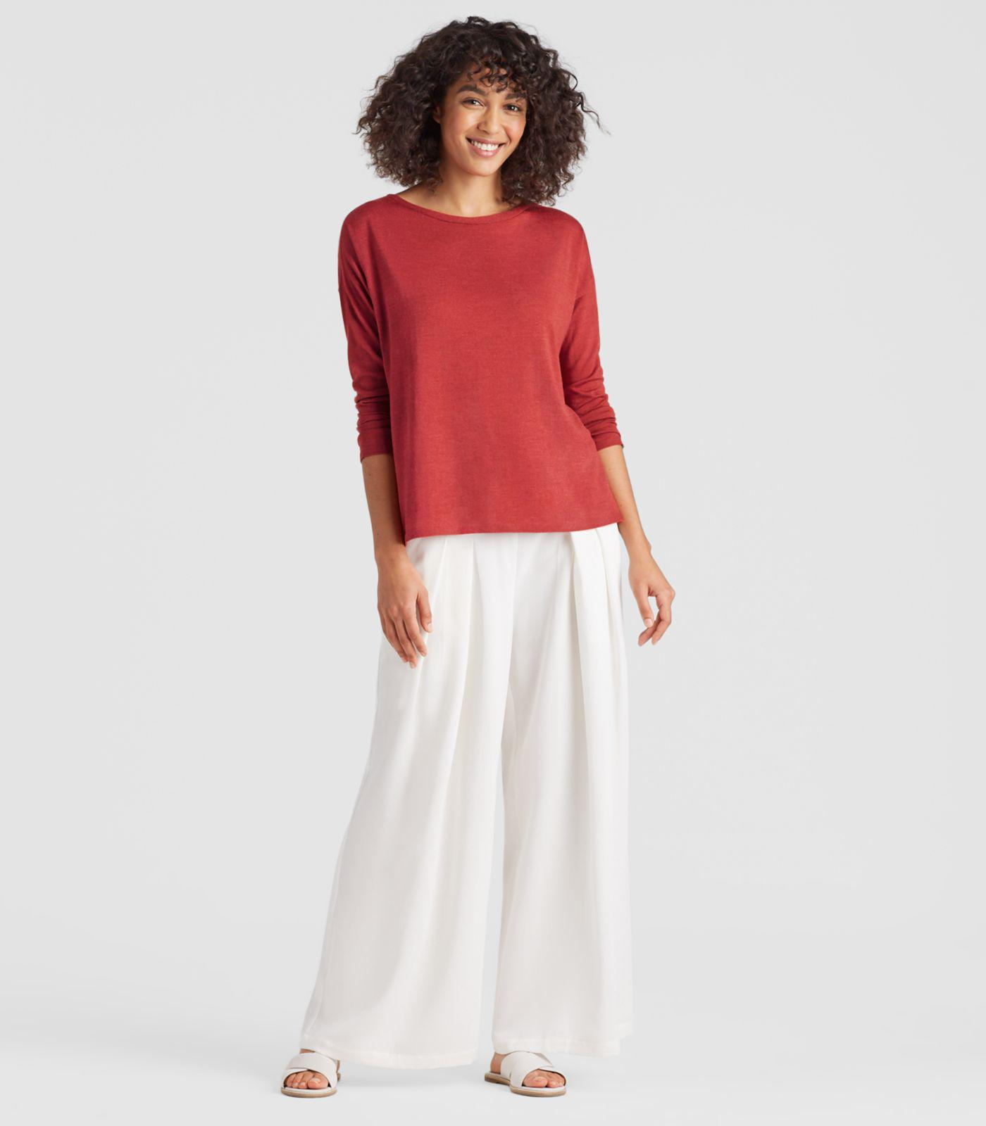 00c4ab453342c0 Eileen Fisher Exclusive Merino Silk Cashmere Box-top in Red - Lyst
