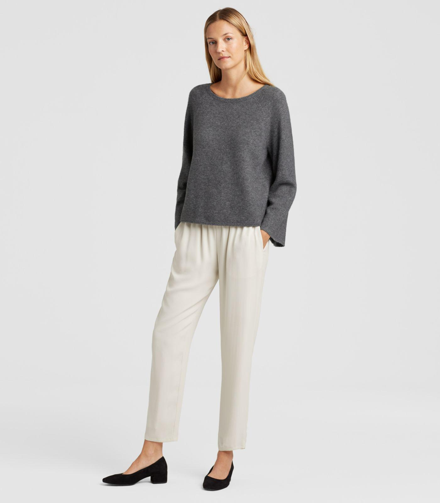 92033bf6fac254 Lyst - Eileen Fisher Cashmere Silk Bell-sleeve Top in Gray
