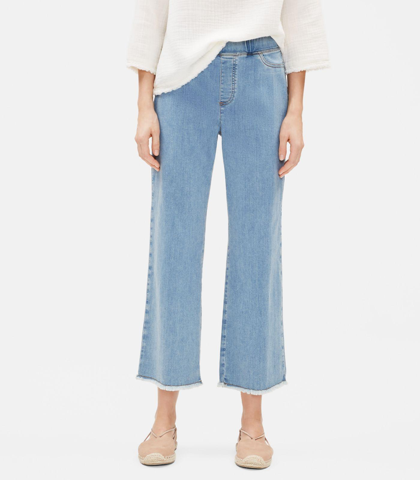 9598e5df19058 Eileen Fisher - Blue Organic Cotton Stretch Raw-edge Jean - Lyst. View  fullscreen