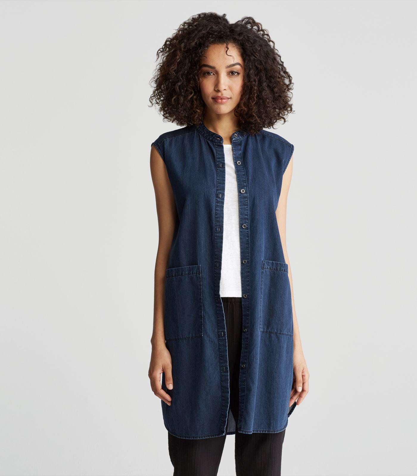 10f43ed8497 Lyst - Eileen Fisher Organic Cotton Denim Mandarin Collar Dress in Blue