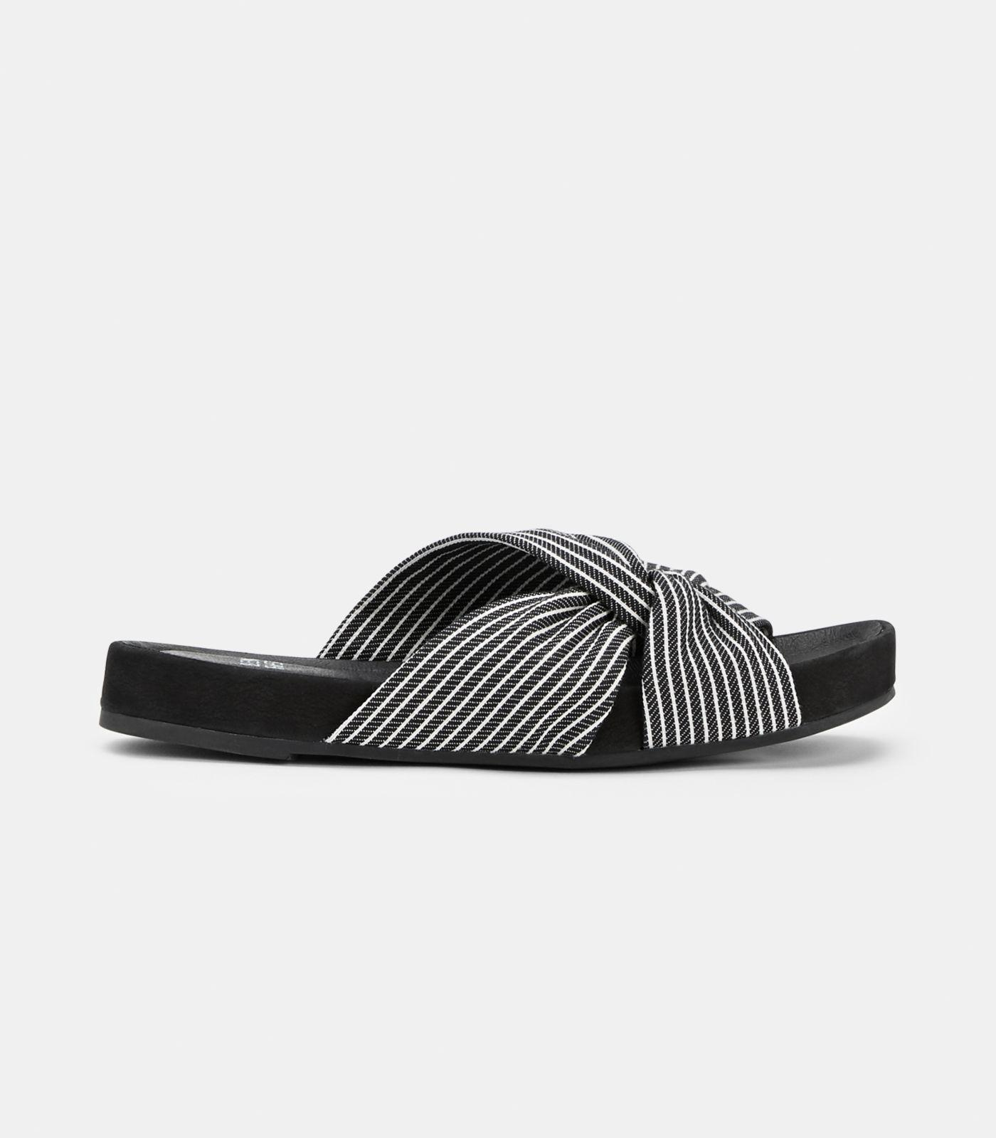 6ca91adeb1d4c Lyst - Eileen Fisher Pal Knotted Stripe Slide Sandals in Black - Save 5%