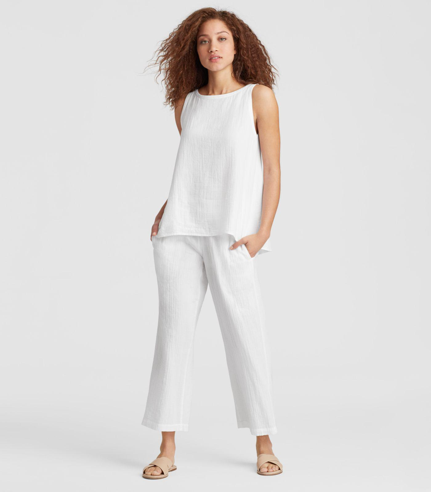 752cf2882d Eileen Fisher Organic Cotton Gauze Straight Cropped Pant in White - Lyst
