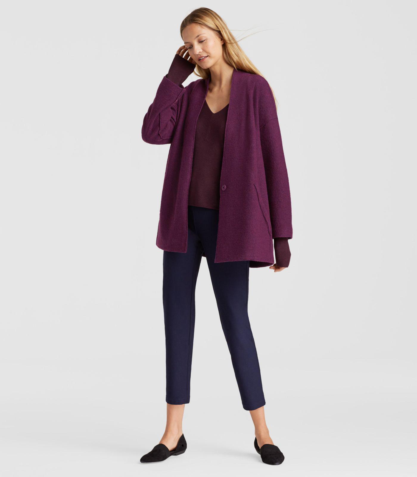 Eileen Fisher Raisonette Lightweight Boiled Wool Kimono Jacket