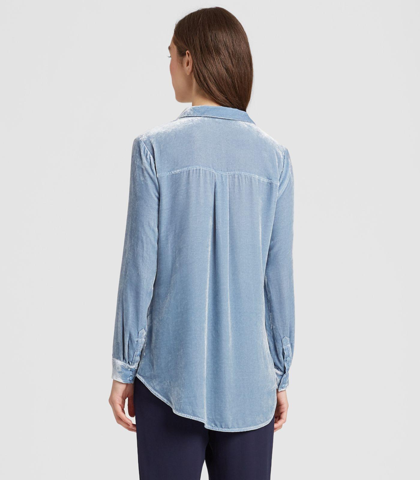 806496120f9e3 Eileen Fisher - Blue Velvet Classic Collar Shirt - Lyst. View fullscreen