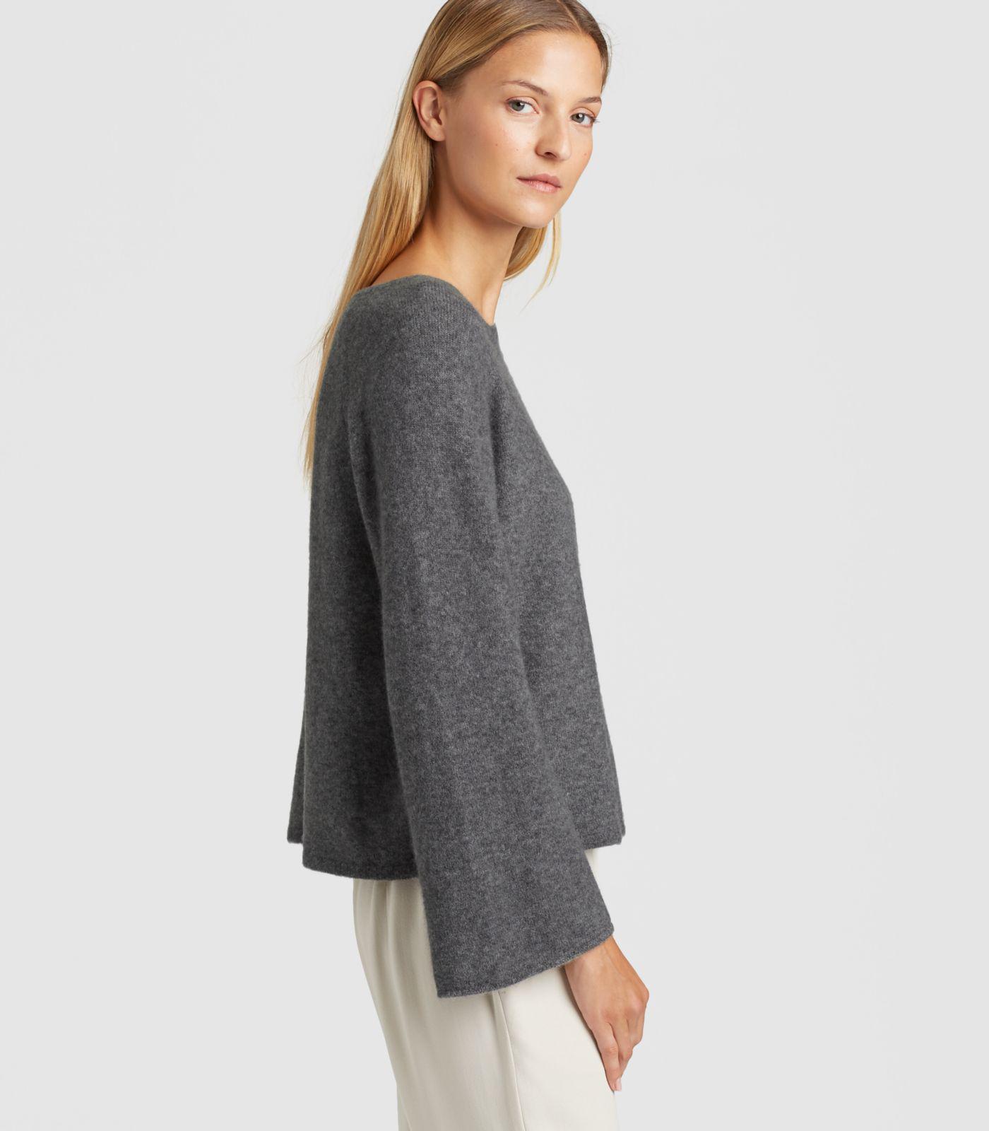 7481cf7ab7c0c0 Eileen Fisher - Gray Cashmere Silk Bell-sleeve Top - Lyst. View fullscreen