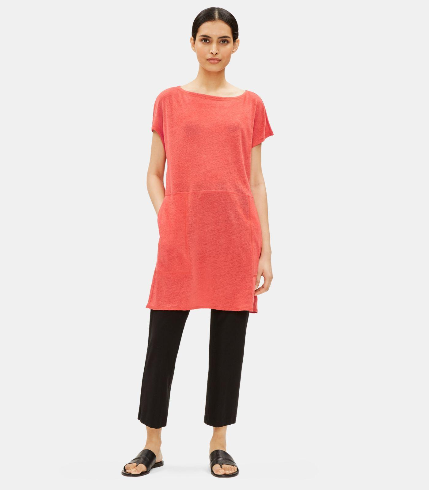 a02db198969 Lyst - Eileen Fisher Organic Linen Jersey Bateau Neck Tunic in Red