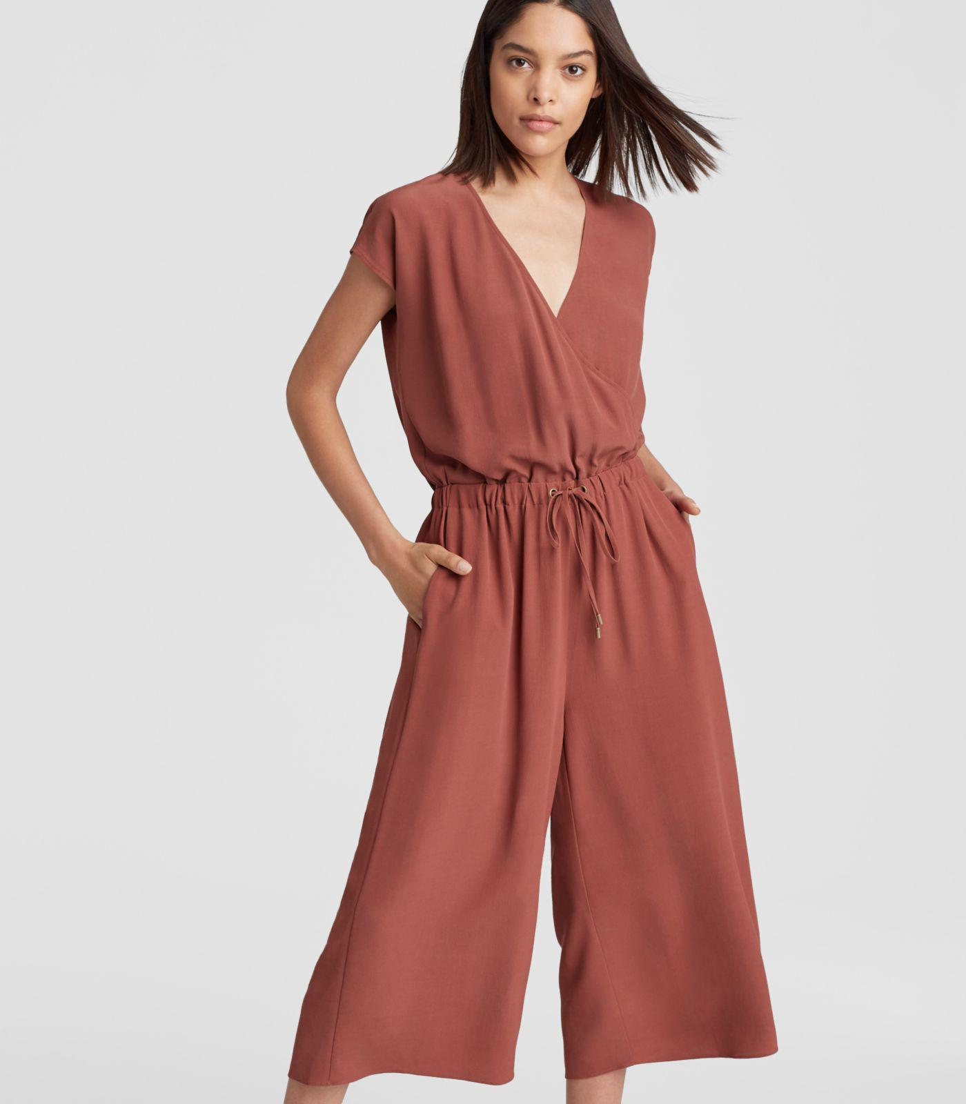b4945a5206a Eileen Fisher Viscose Crepe Cropped Wide-leg Jumpsuit in Red - Lyst