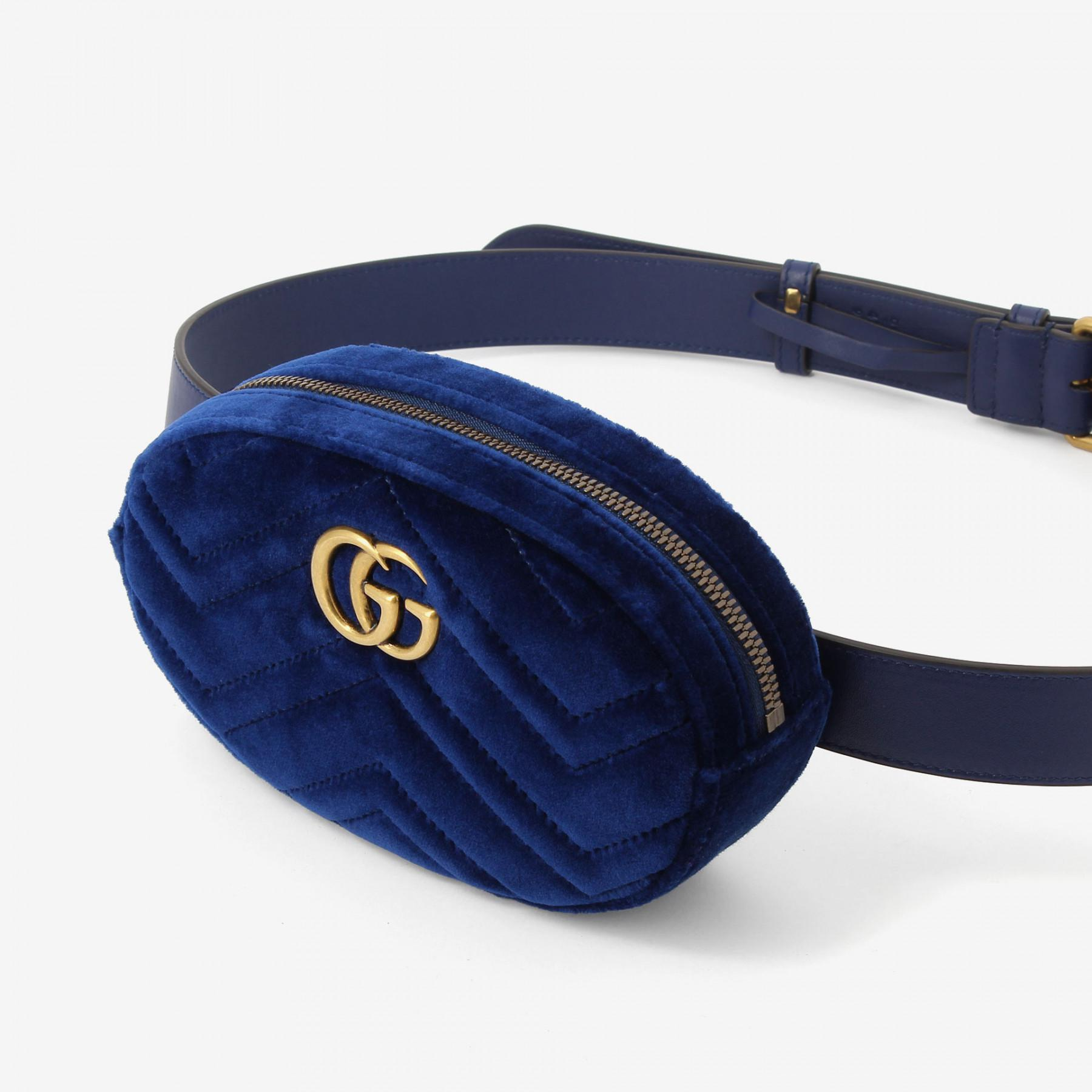 f324c3e999a Lyst - Gucci Velvet Marmont Belt Bag in Blue