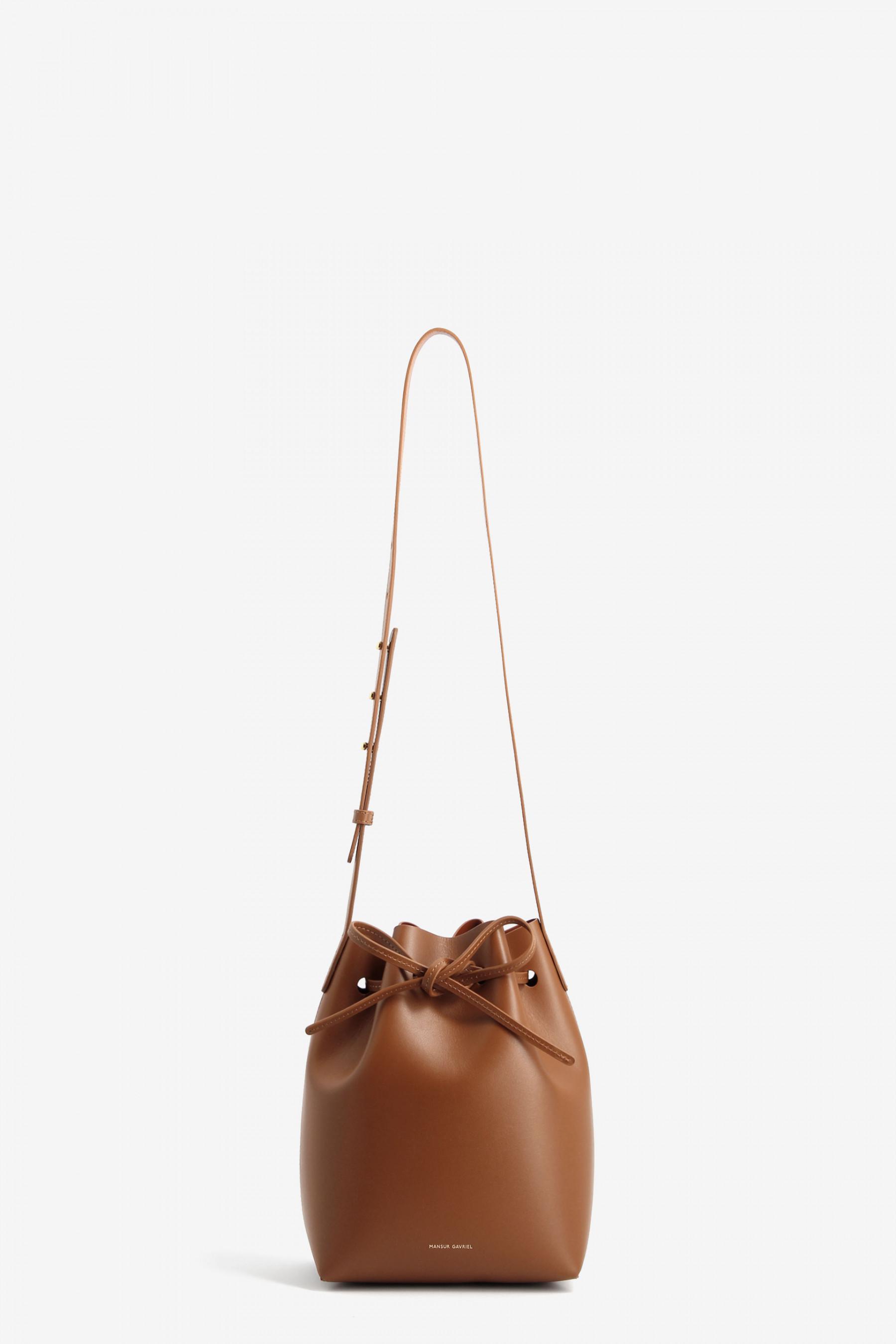lyst mansur gavriel tan brown lined mini leather bucket. Black Bedroom Furniture Sets. Home Design Ideas
