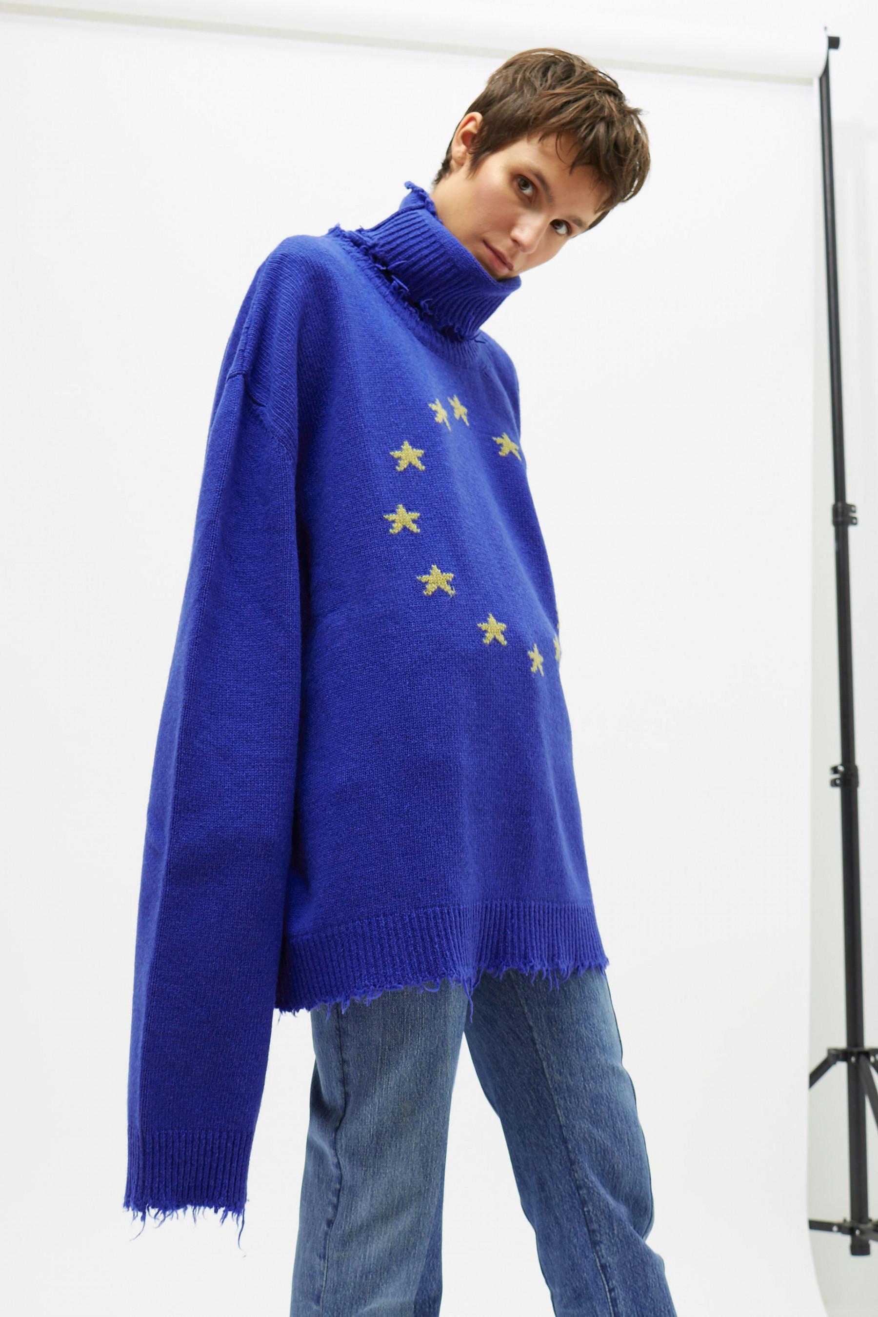 Vetements Vagabond Turtleneck Oversized Sweater in Blue | Lyst