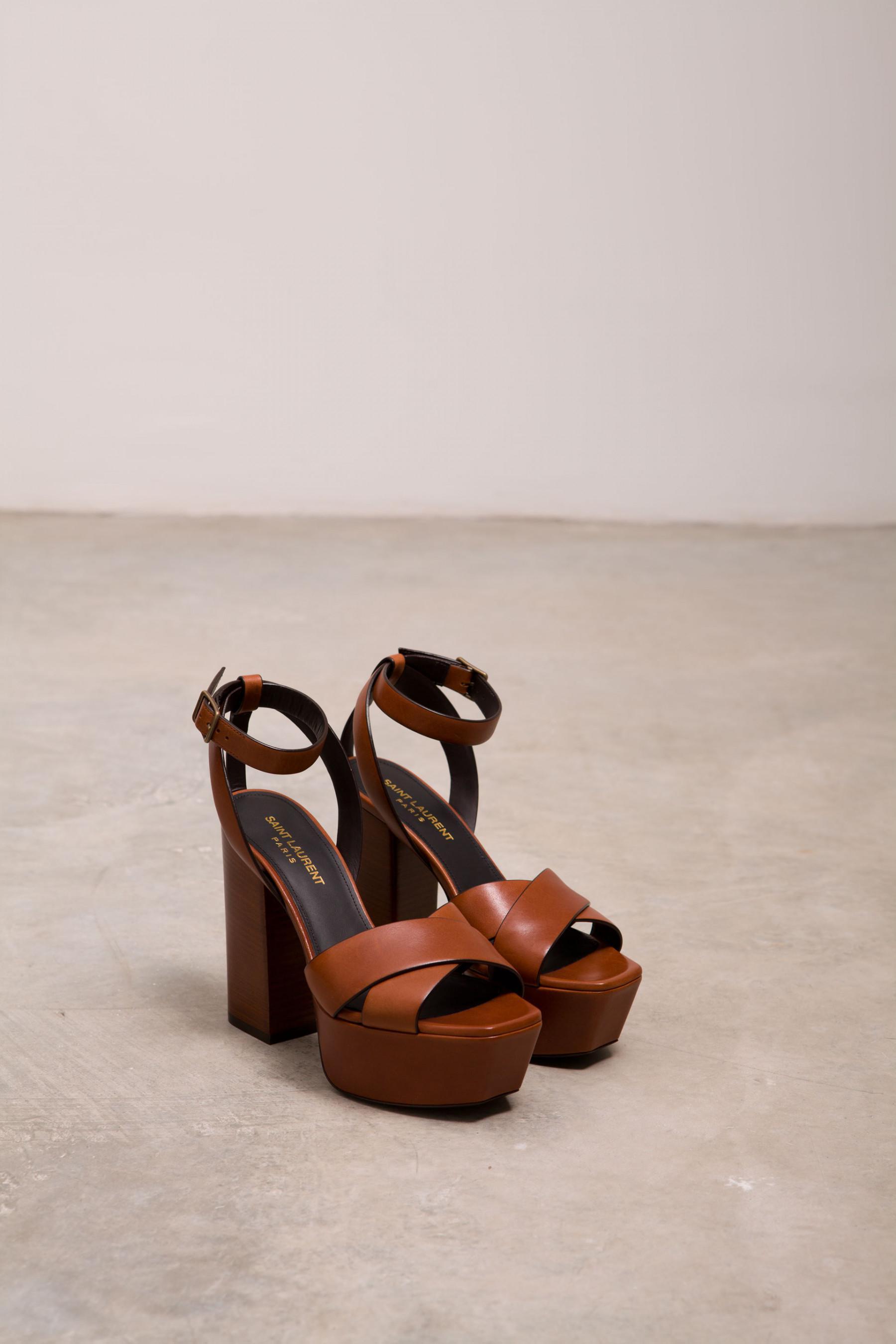 Saint Laurent Farrah Crackled Metallic Leather Platform Sandal, Bronze