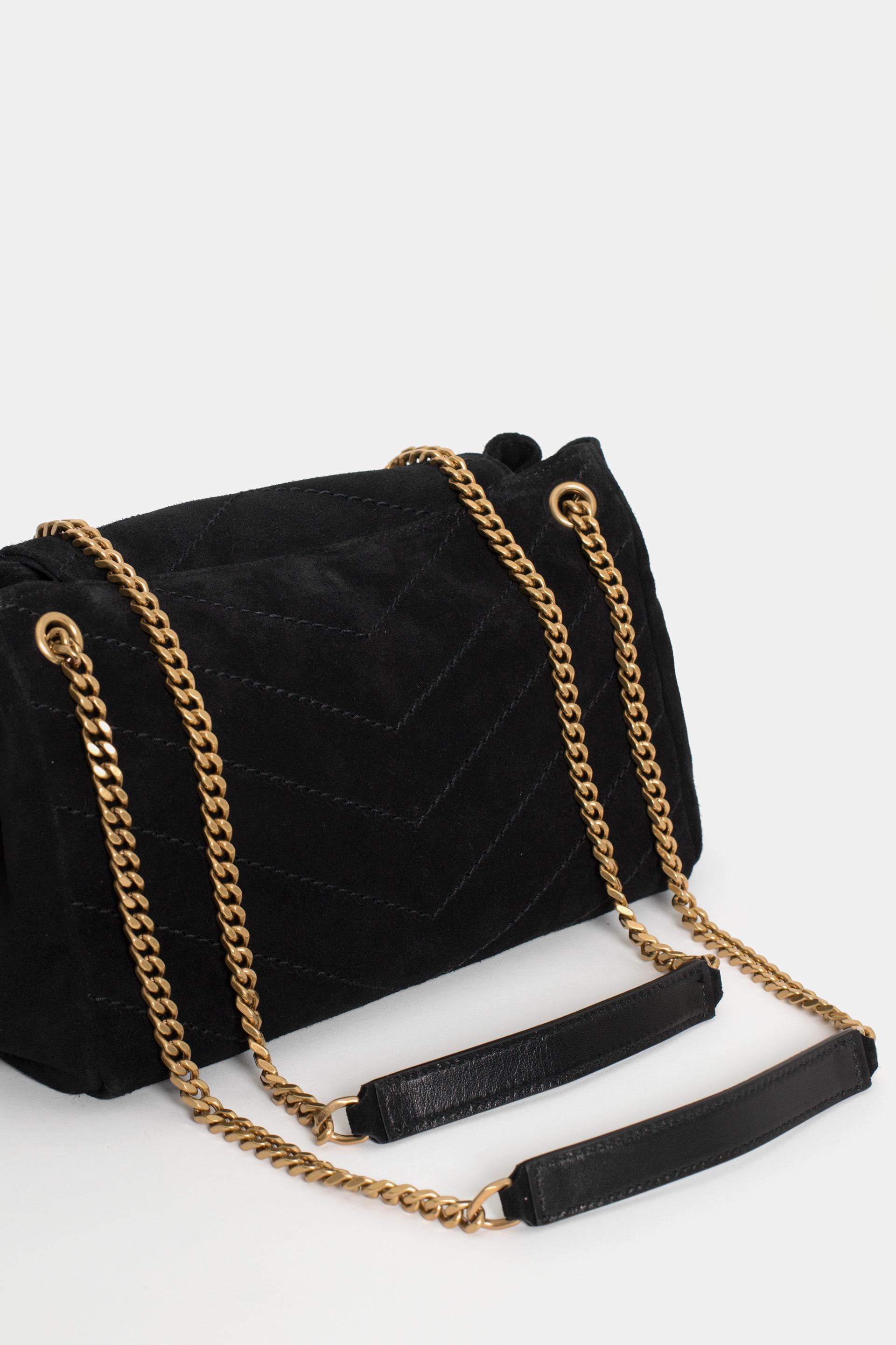 faf9993cd706 Lyst - Saint Laurent Small Nolita Suede Bag in Black