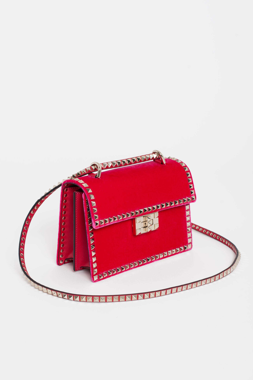 236cbfc0795 Valentino Rockstud No Limit Velvet Bag in Pink - Lyst