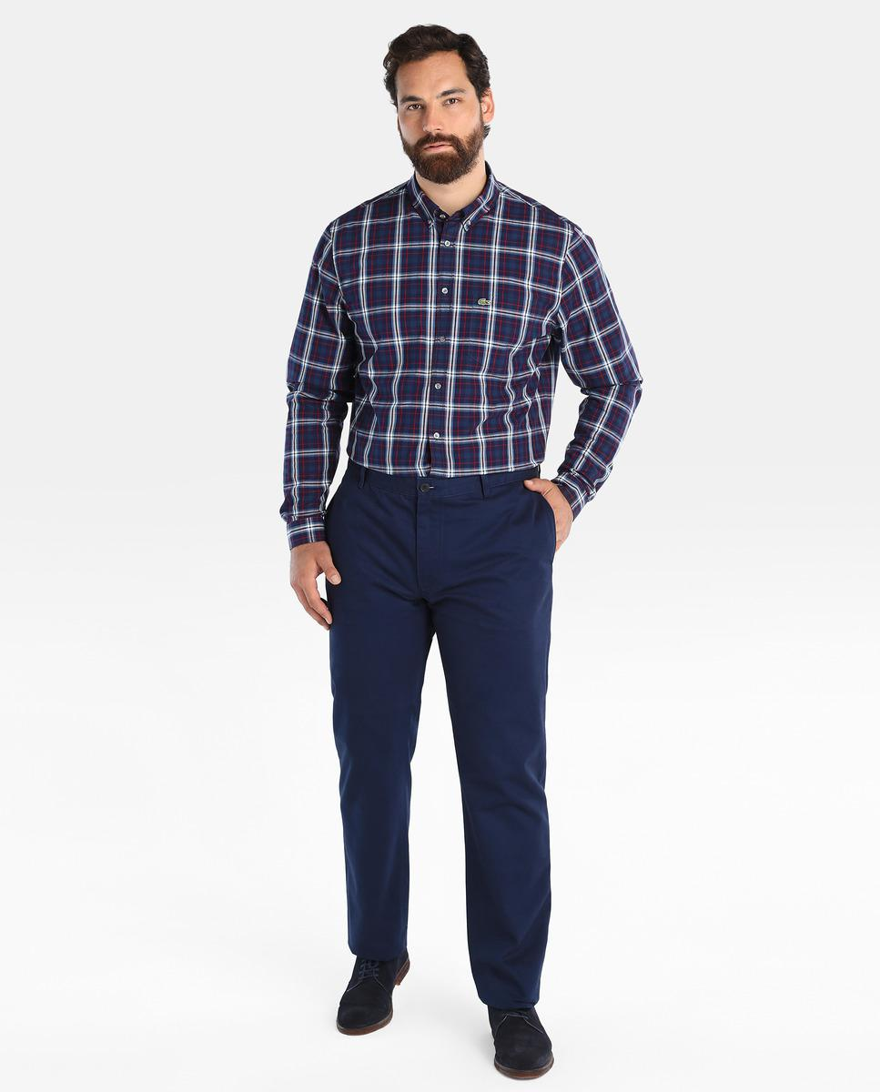 Lyst lacoste big and tall regular fit blue checked shirt for Lacoste big and tall polo shirts