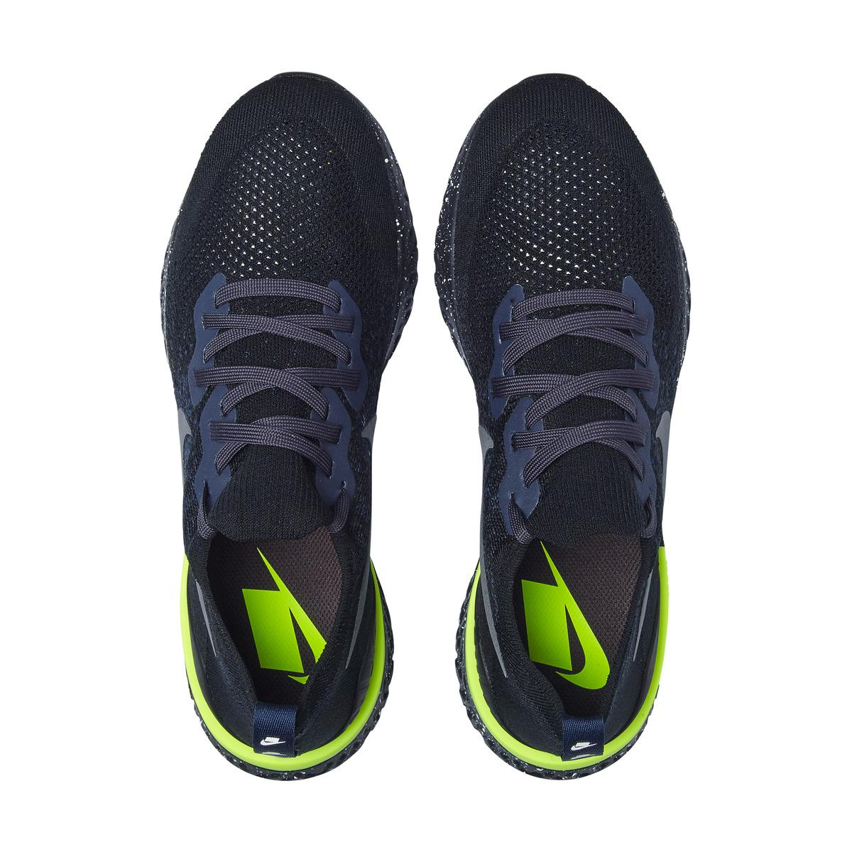 brillo de color sombras de diseño elegante Nike Epic React Flyknit 2 Se Running Shoes in Black / Blue (Blue ...