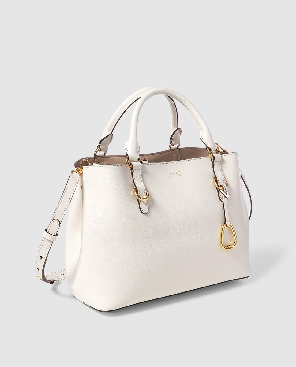 4dc7c728ce36 Lauren by Ralph Lauren White Calfskin Leather Handbag With Pendant in White  - Lyst