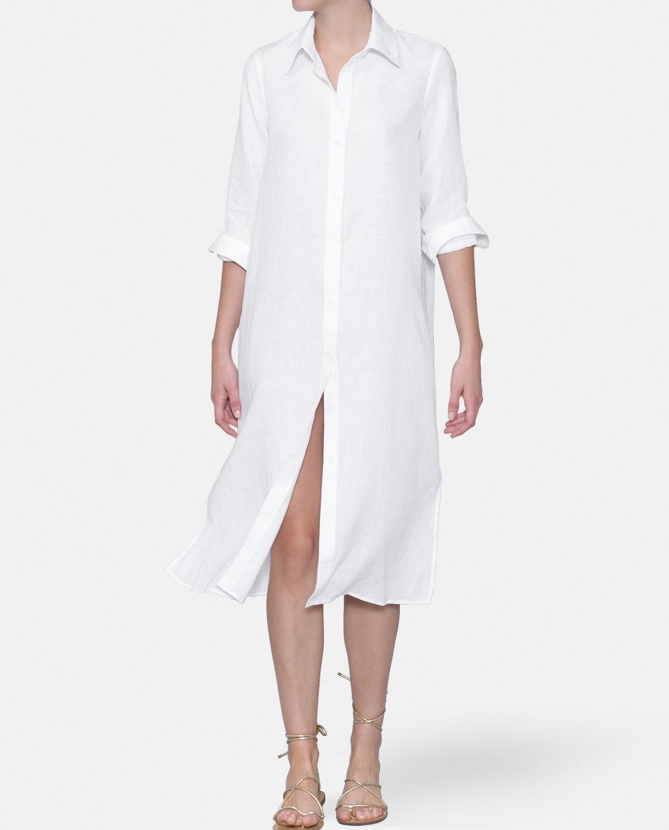 Mirto linen shirt dress in white lyst for White linen dress shirt