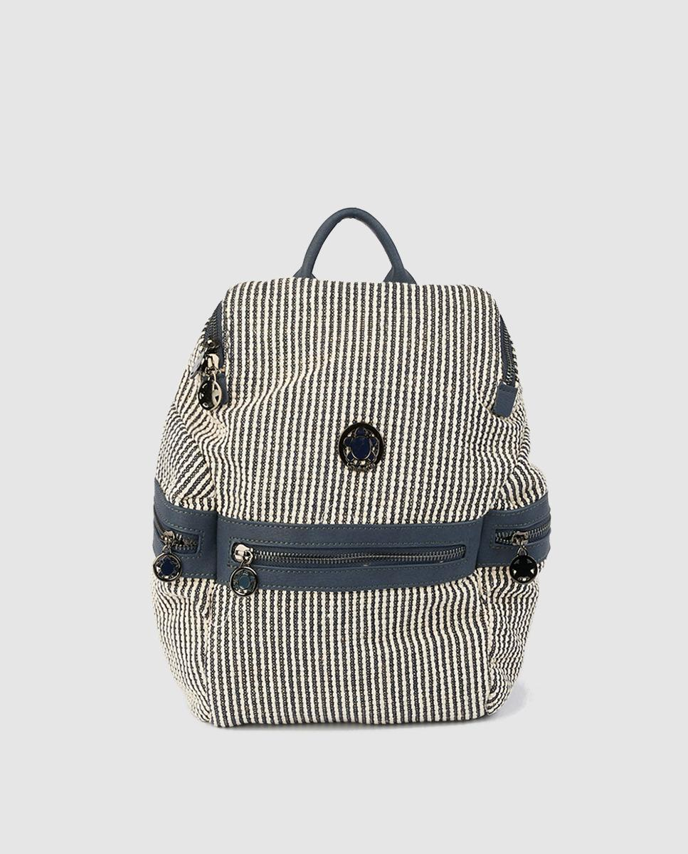 835a61659 Caminatta Navy Blue Striped Fabric Backpack With Metallic Logo in ...