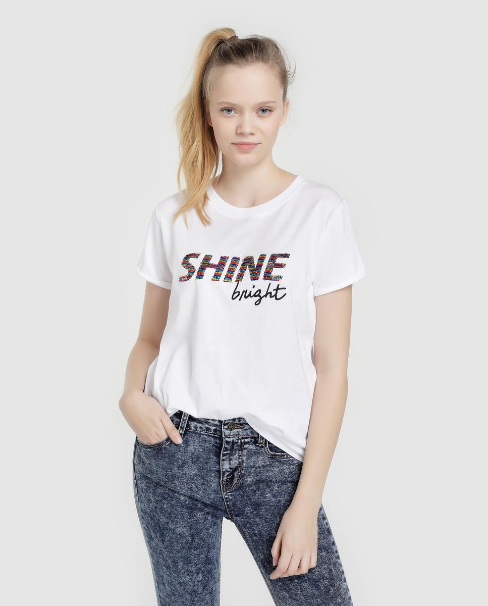 aac8f21c6 Green Coast. Women s White T-shirt With Slogan And Sequins.  18  7 From El  Corte Ingles