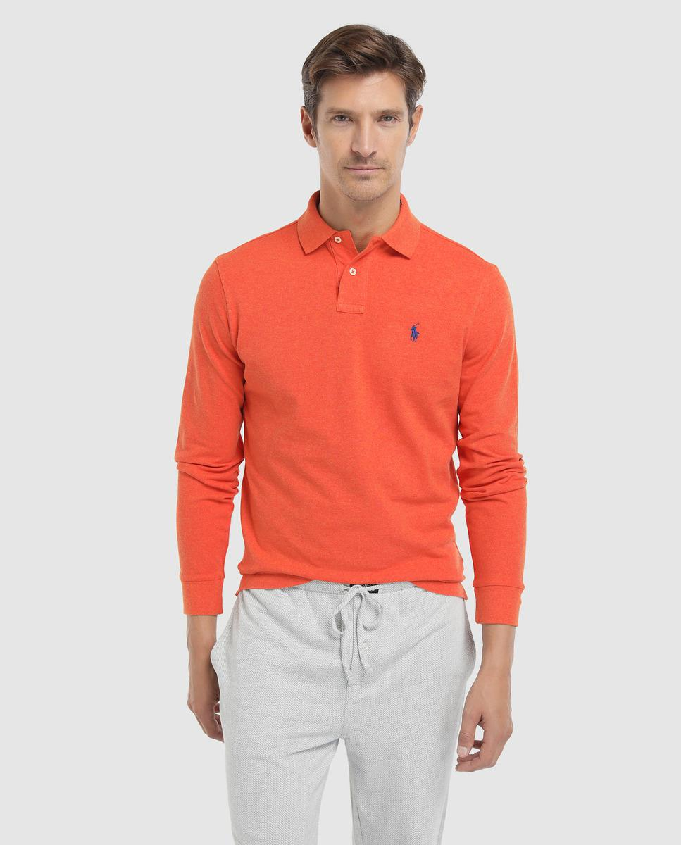 d96ed12df95d4 Polo Ralph Lauren Regular-fit Long Sleeve Orange Piqué Polo Shirt in ...