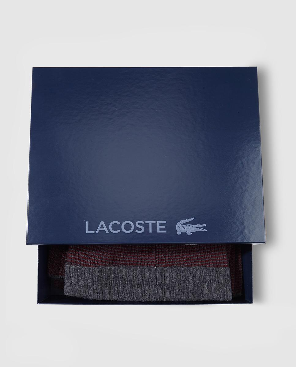 e07dbdabf39 Lacoste Maroon And Grey Knitted Hat And Scarf Set for Men - Lyst