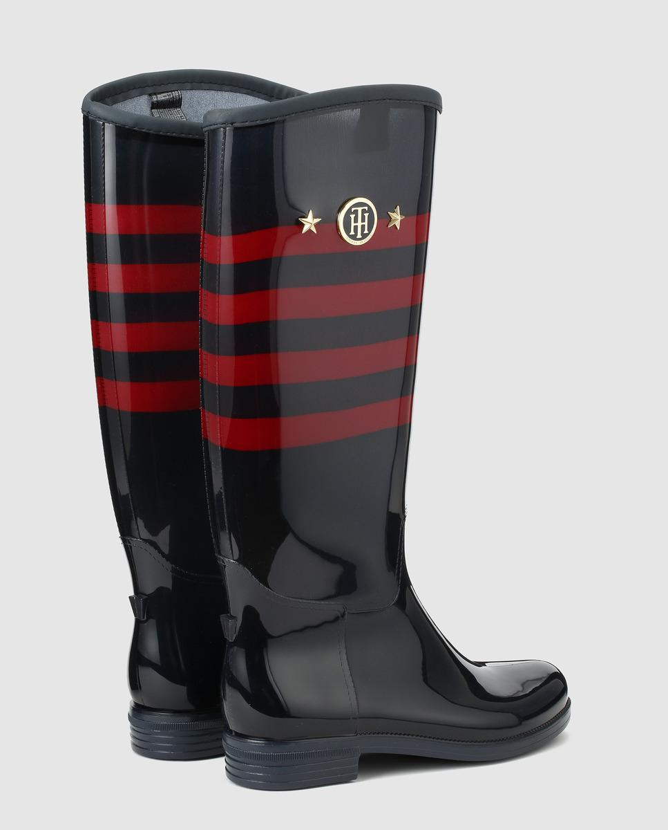 Tommy Hilfiger Navy Blue Rain Boots With Red Stripe Detail -9995