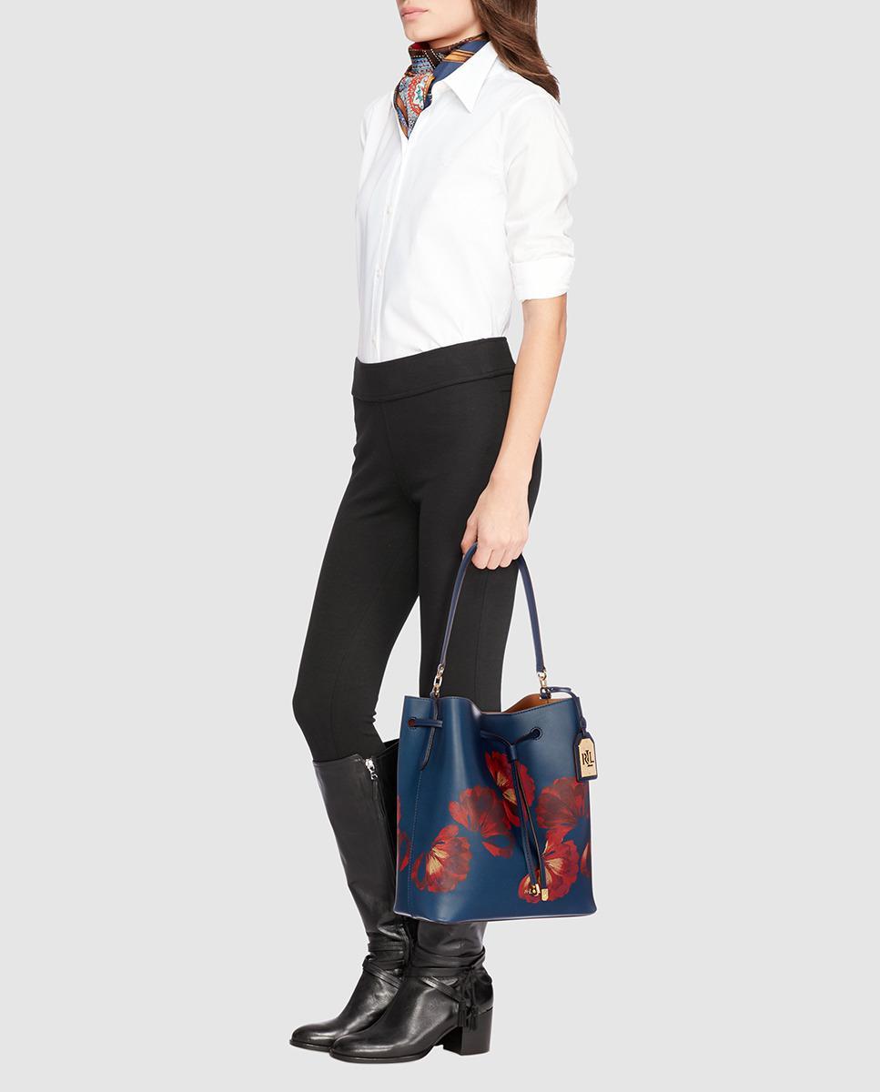 17d2701957 Lauren by Ralph Lauren Navy Blue Leather Bucket Bag With Floral ...
