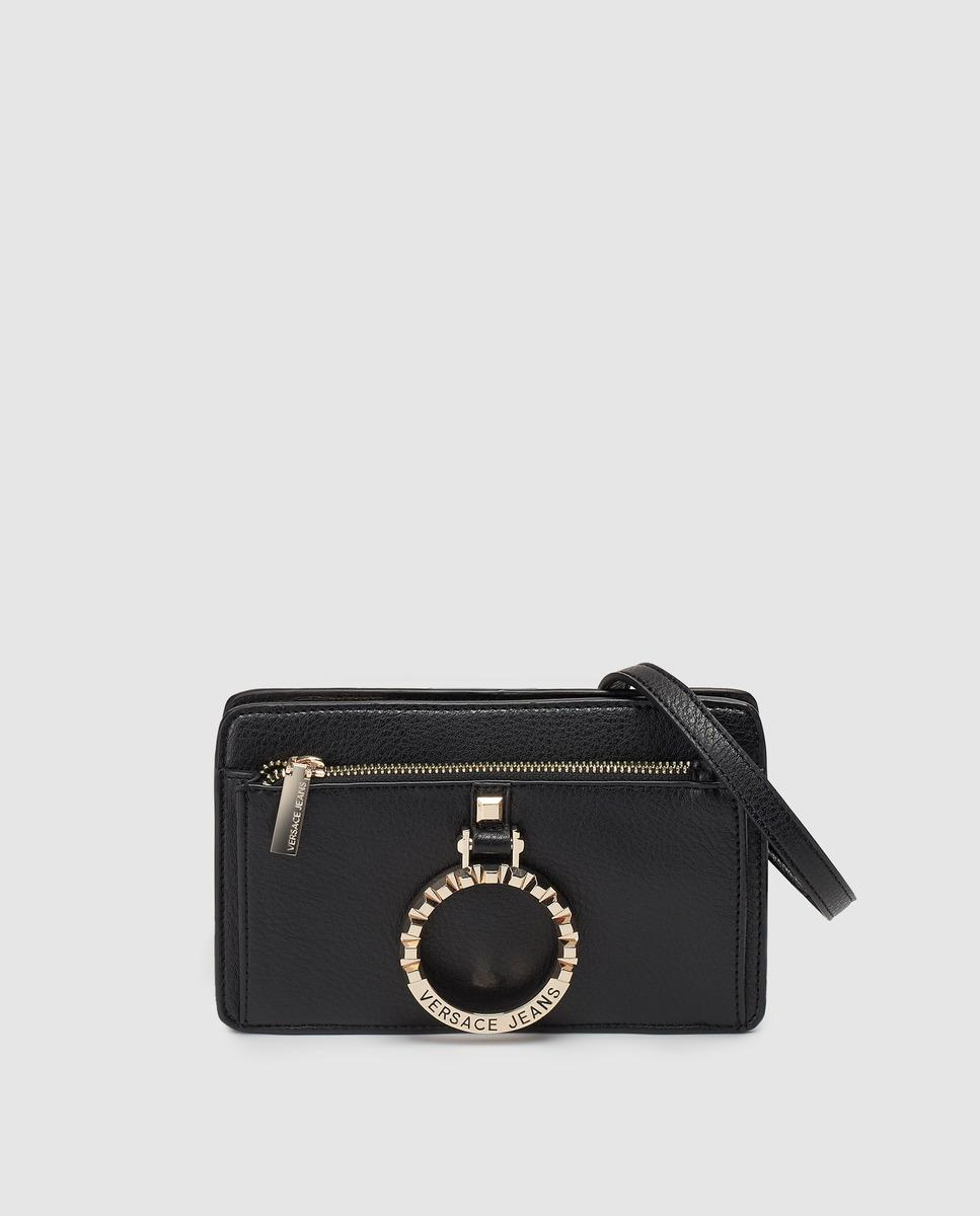 d7b0ddb57e7b Versace Jeans - Small Black Crossbody Bag With An Outer Pocket - Lyst. View  fullscreen