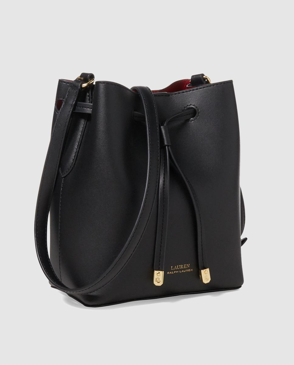 2ba4b16bf99e Lyst - Lauren by Ralph Lauren Small Black Leather Bucket Bag With Red  Interior in Black