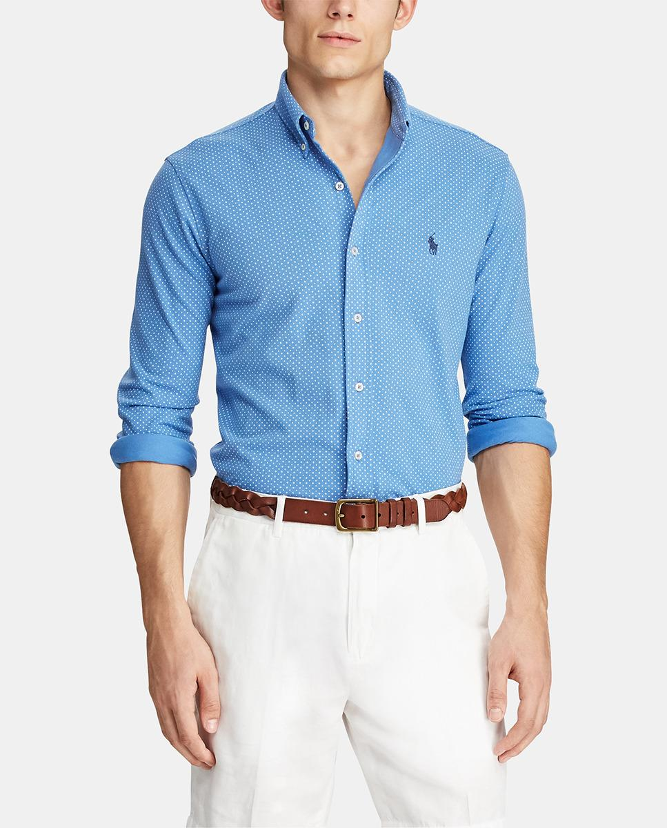 396b60d7a55 Lyst - Polo Ralph Lauren Regular-fit Blue Printed Piqué Shirt in ...