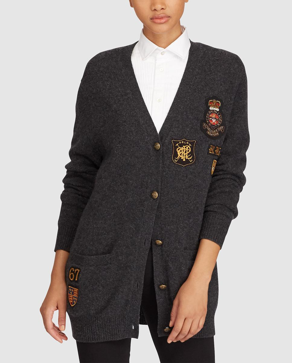 Lyst - Polo Ralph Lauren Long Cardigan With Patches in Blue