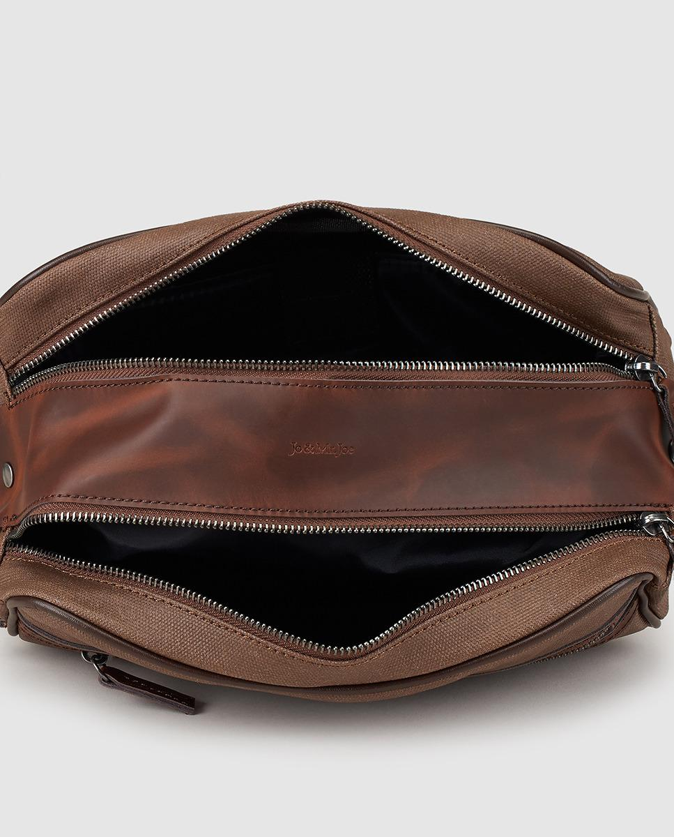 Jo Amp Mr Joe Mens Brown Toiletry Bag With Double