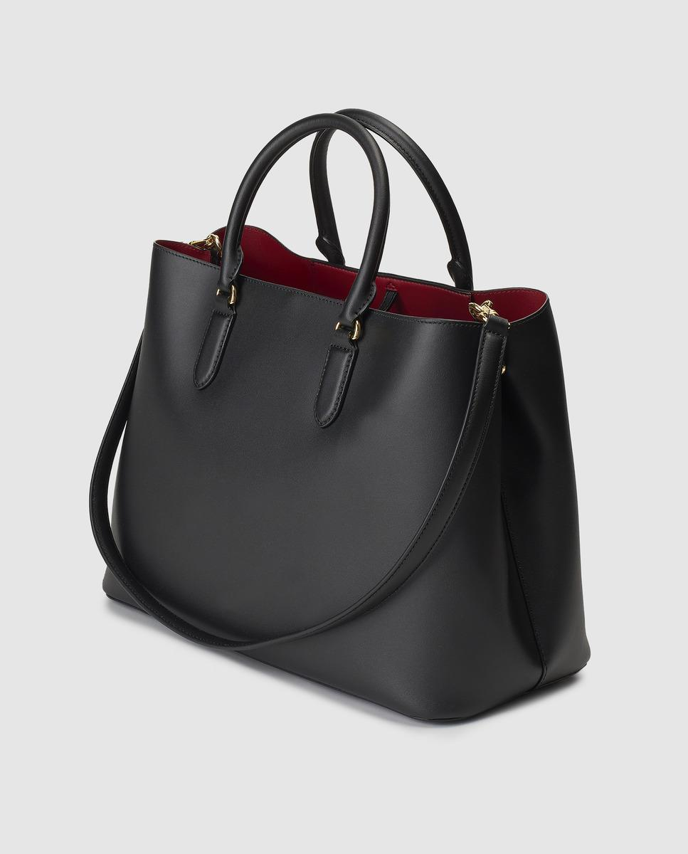 f916bc8e28 Lauren by Ralph Lauren Black Leather Handbag With Red Interior in Black -  Lyst