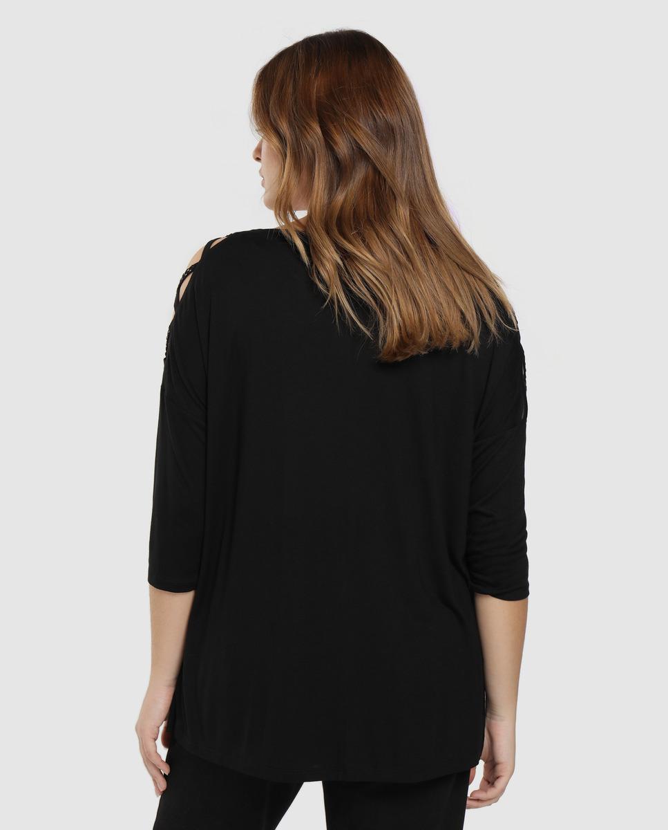 Camiseta Larga De Mujer Fantasia Manga Larga 100% Viscosa Couchel de color Negro