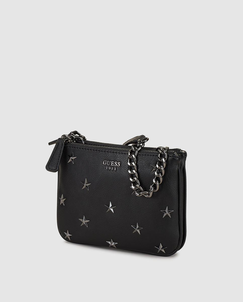 62e6fc3863 Guess Small Black Crossbody Bag With Stars Appliqué in Black - Lyst
