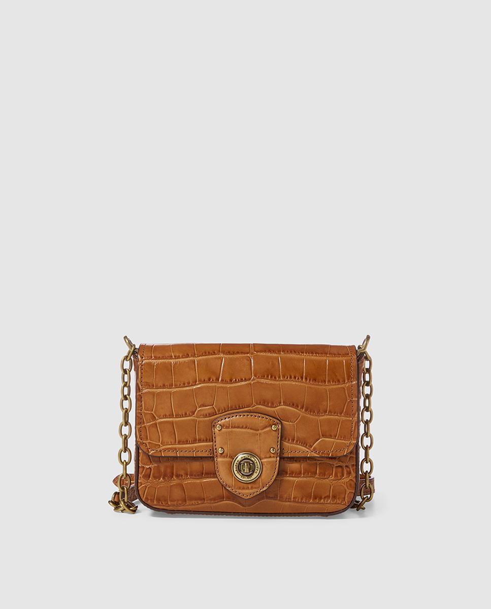 69a92b1e20f7 Lauren by Ralph Lauren. Women s Small Brown Mock-croc Leather Crossbody Bag  ...