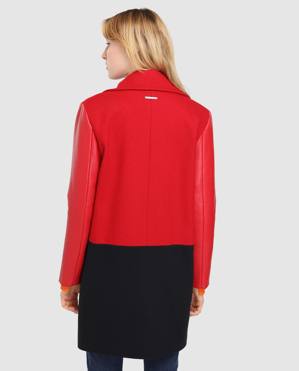 29ebaa43ad7 Armani Exchange Two-tone Woollen Cloth Coat With Eco-leather Sleeves in Red  - Lyst