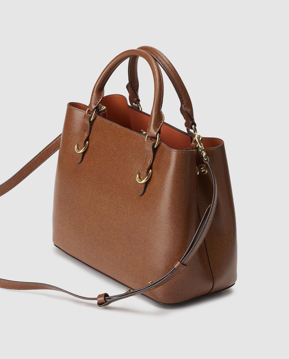 c74b31ff81d7 Lyst - Lauren by Ralph Lauren Brown Saffiano Leather Handbag With Orange  Lining in Brown