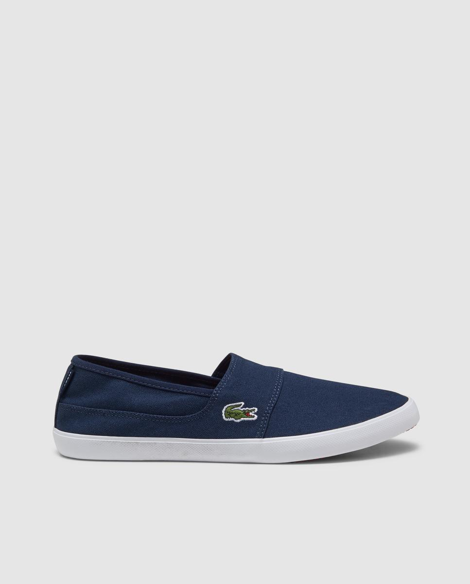 4d39ac14cdbf1 Lyst - Lacoste Navy Blue Canvas Trainers With Elastic Side Panels in ...