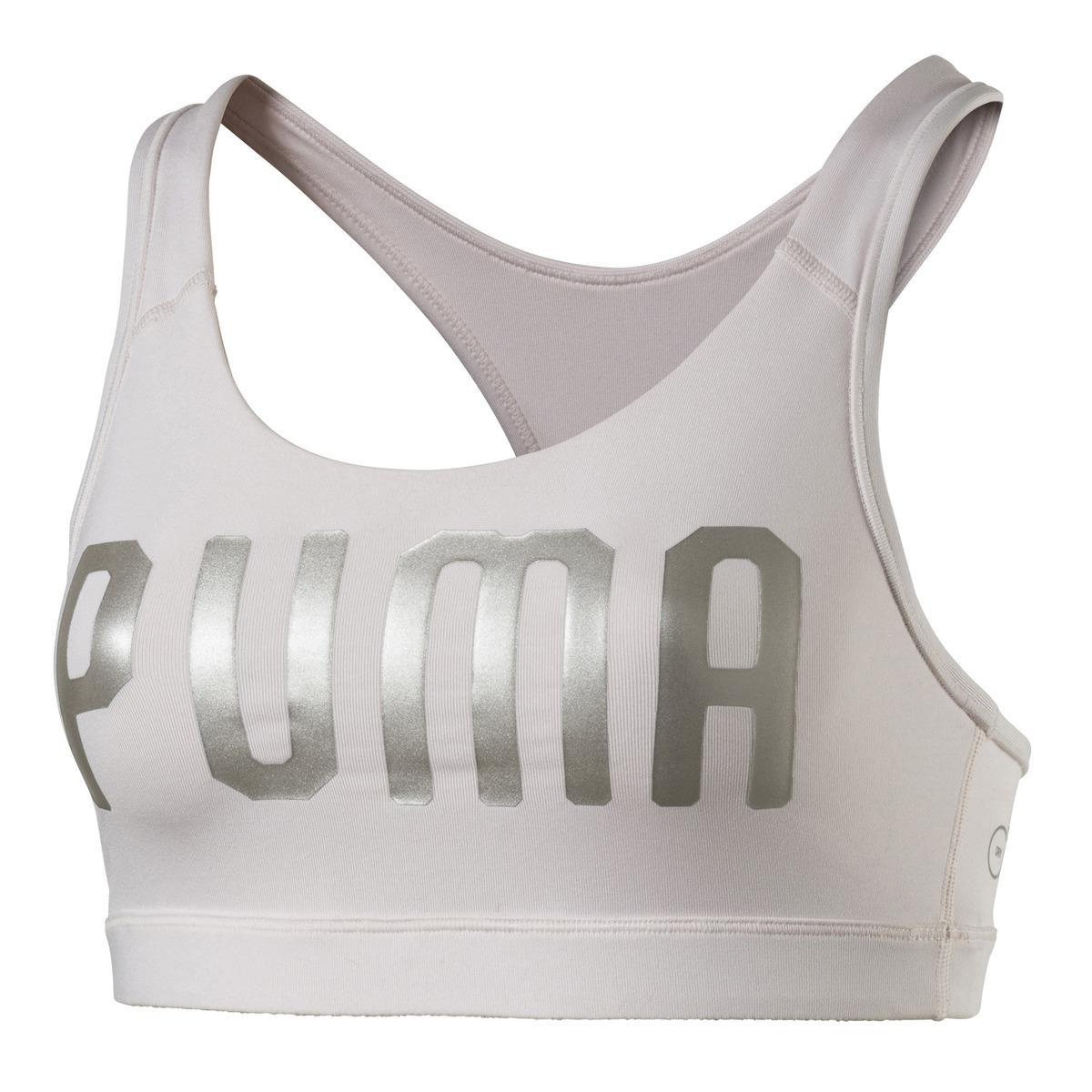Lyst - Puma En Pointe Logo Sports Bra in Gray 8044d4998