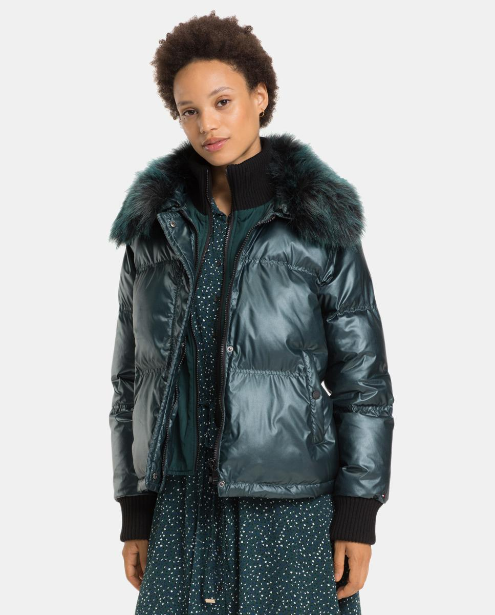 Tommy Hilfiger Short Quilted Coat With A Fur Collar in ...