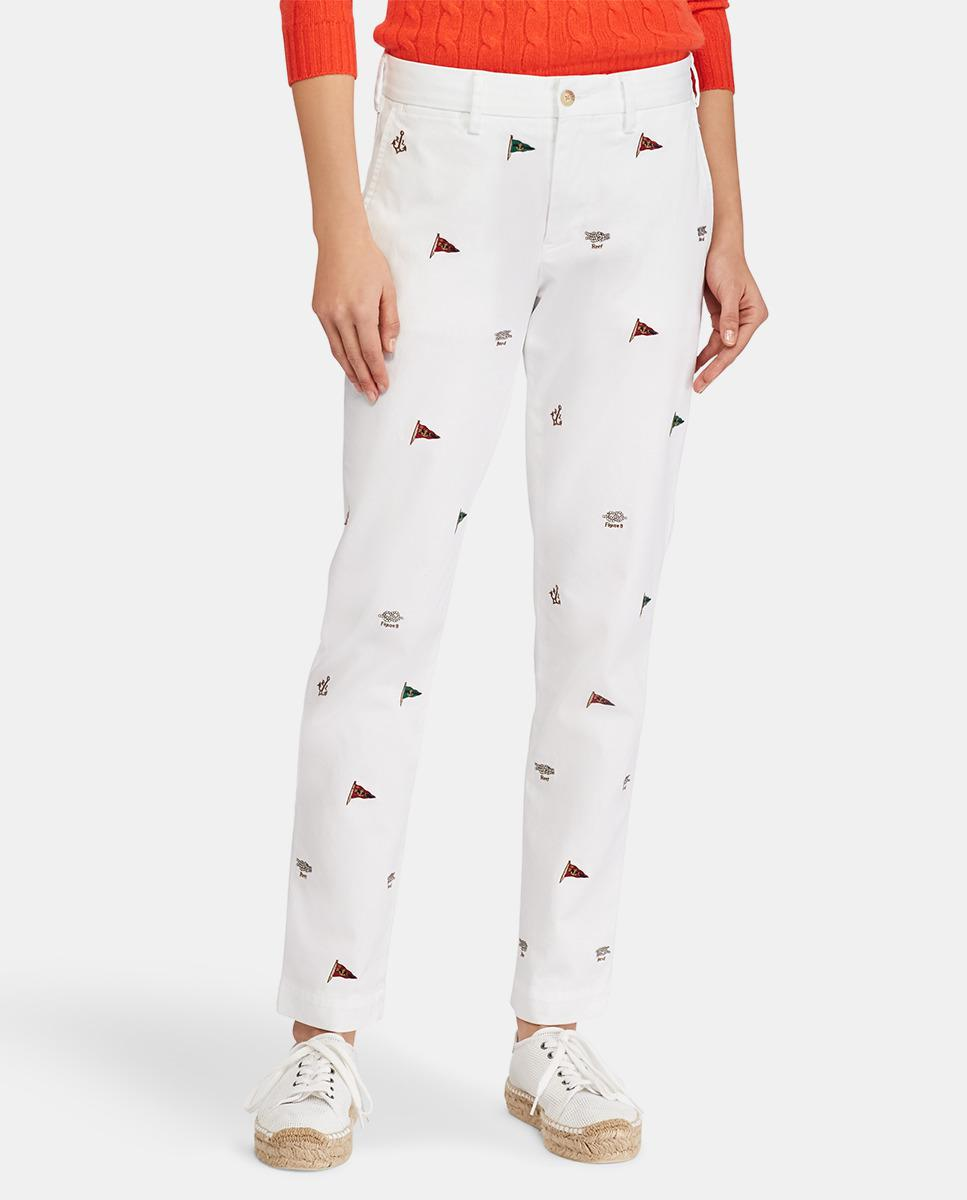 a4ff27dfe8d Lyst - Polo Ralph Lauren Skinny Trousers With Nautical Print in White