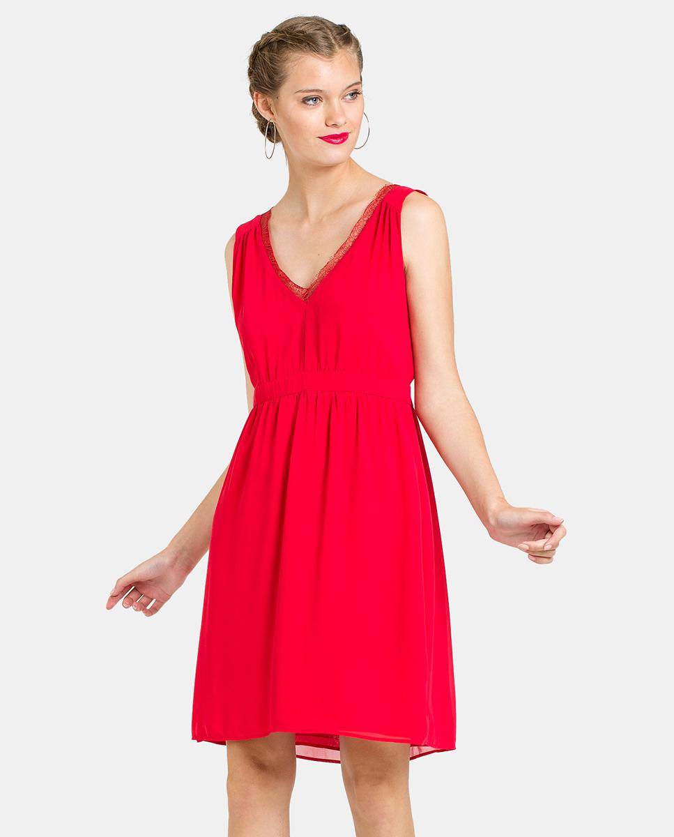 Lyst - Naf Naf Red Dress With Lace in Red 1979bdfb9