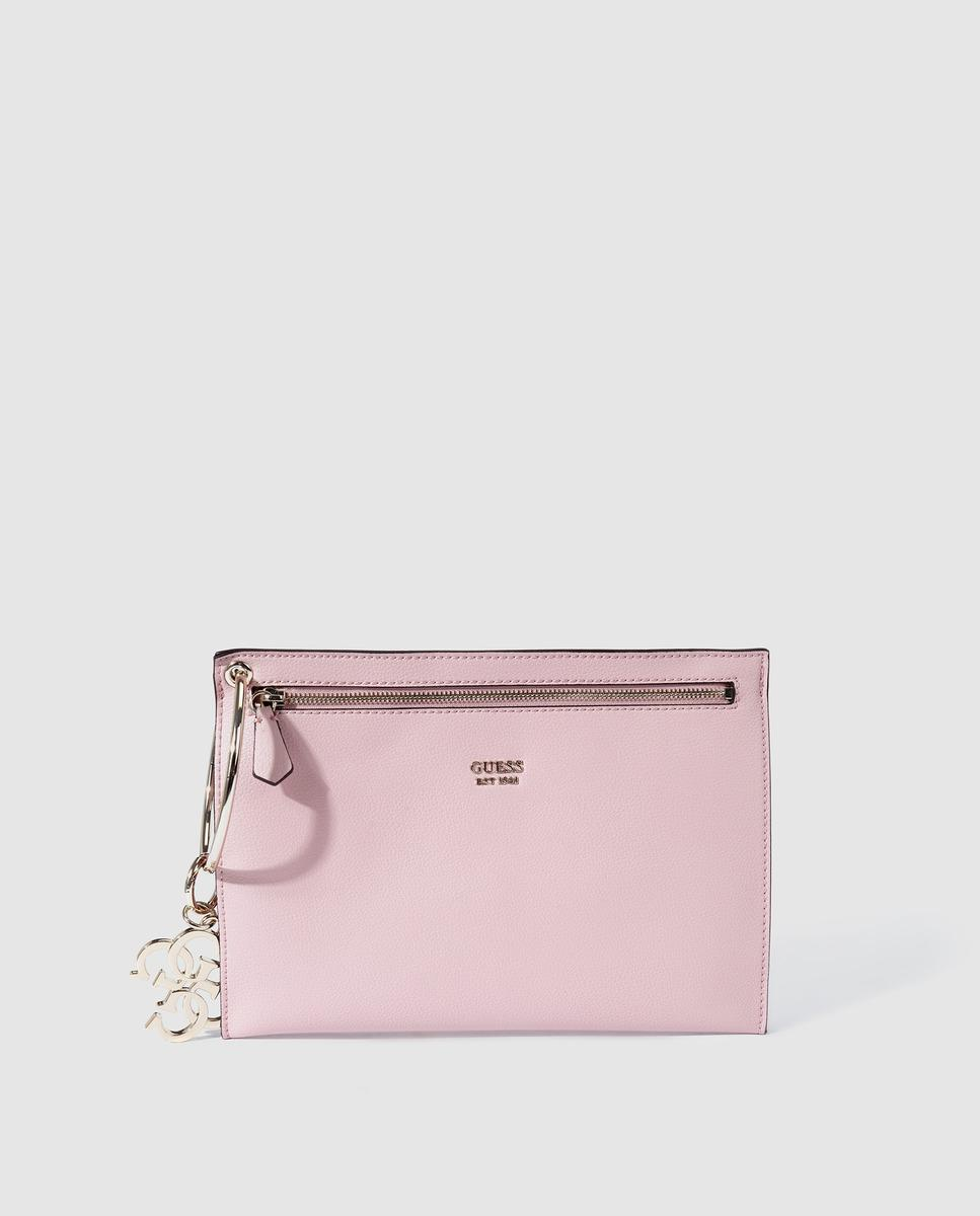 075bf8e8574c Lyst - Guess Pink Clutch With Metallic Brand Appliqué in Pink
