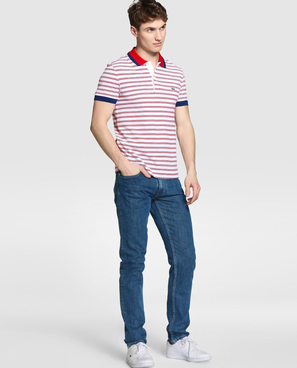Lacoste striped short sleeved piqu polo shirt for men lyst for Lacoste stripe pique polo shirt
