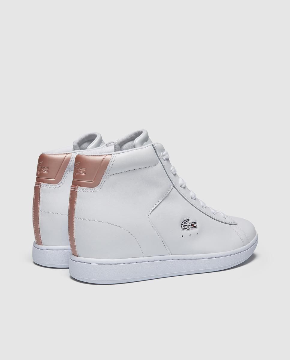 Lacoste White Leather Wedge Trainers - Lyst