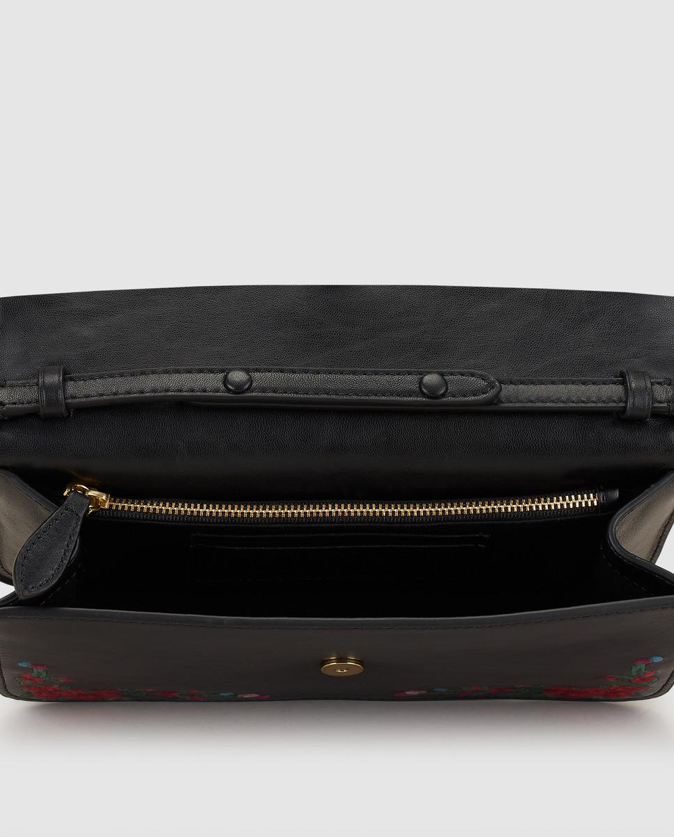 Lyst - Polo Ralph Lauren Wo Black Leather Crossbody Bag With Floral Embroidery In Black